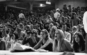 Aug. 28, 1966: Crowd watching the Beatles perform at Dodger Stadium. This photo was published in the Aug. 29, 1966 Los Angeles Times.