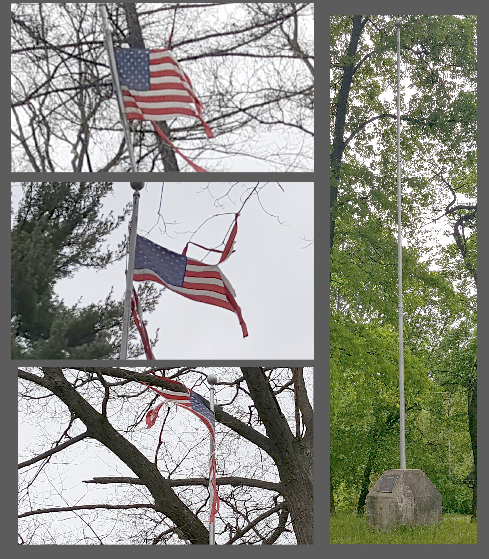 sad and neglected flag and monument